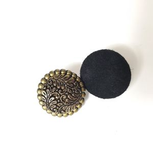 Vintage mismatched brass suede circle earrings